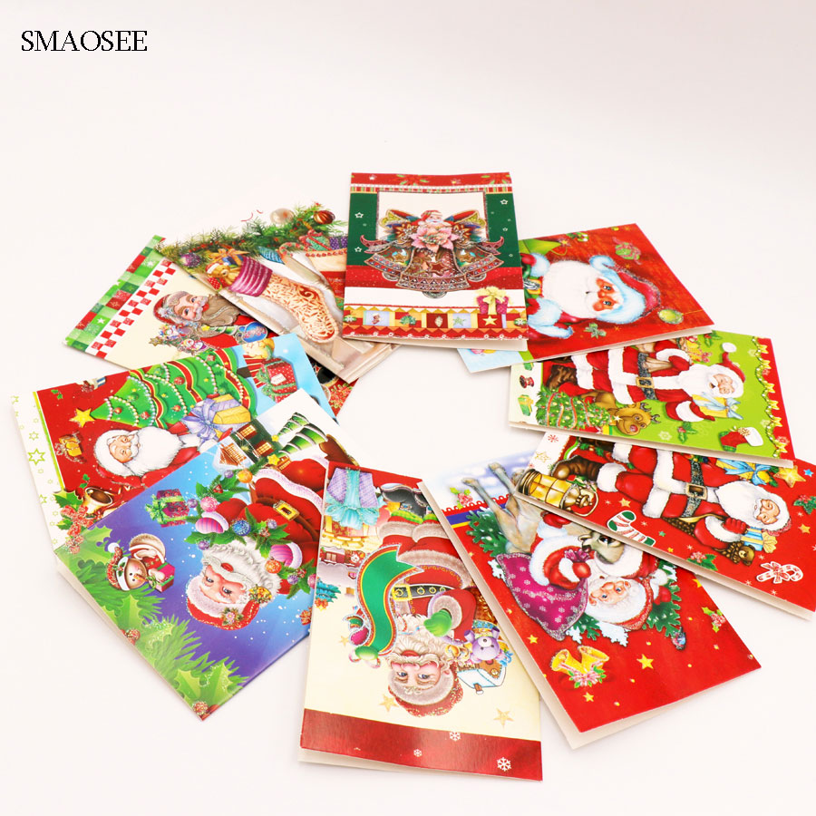 18Pcs/Pack Cartoon Santa Claus Christmas Greeting Card Navidad Postcards Xmas Greeting Cards Christmas Decorations For Home Gift