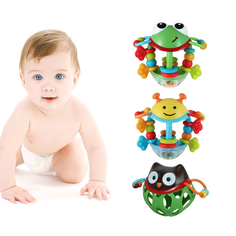 LeadingStar Baby Soft Rubber Hollow Rattle Cartoon Animal Baby Rattles Toys Newborn Hand Bells Educational Baby Rattles Toys
