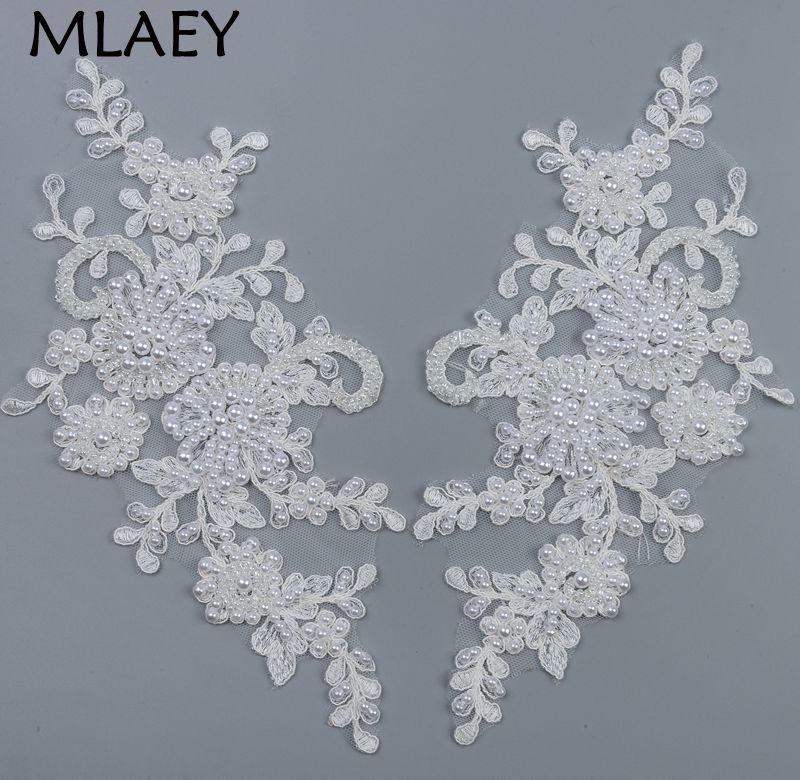 MLAEY 1pairs Alencon Embroidered Lace Trim Neckline Fabric Lace Ribbon,Wedding Dress Collar Lace For Sewing Supplies Crafts