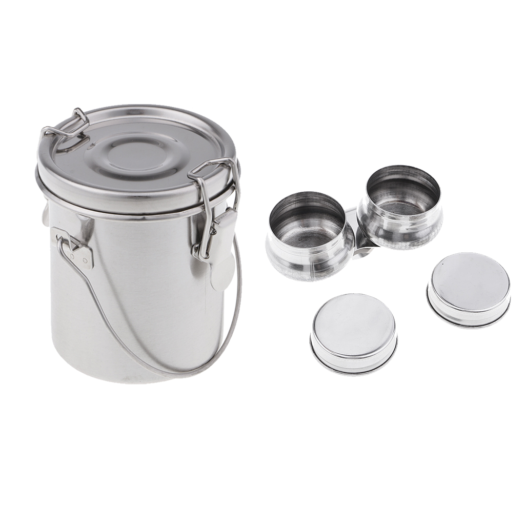 Stainless Steel Double Dipper Painting Oil Pot Wash Bucket Washing Brush Tool S