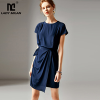 2019 Women's 100 Silk Runway Dresses O Neck Short Sleeves Asymmetrical Sash Belt Elegant Casual Dresses