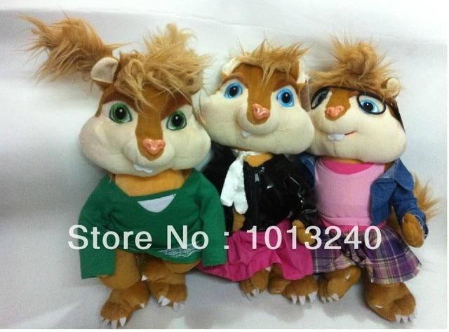il trasporto libero 3 pz/lotto ragazze alvin superstar giocattoli morbidi peluche , chipmunk alvin