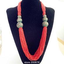 TNL594 Collar Tibetano Rojo coraled mini Perlas collar de Tíbet Nepal hecho a mano collares de perlas 2016 Nueva Llegada