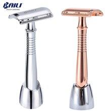 BAILI Long Handle podwójne zabezpieczenia na kanty Blade Razor dla fryzjera mężczyzn golenie włosów Unisex + 5 ostrze + zwolennik/stojak/podstawa BD194/BD193G