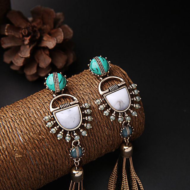 Egyptian Long Hanging Earrings with Turquoise