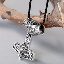 CHENGXUN Colar Viking Nórdico Thor Martelo Machado Viking Jóias Amuletos Talismã Cruz Leão Pingente Animal Original(China)