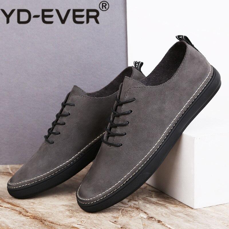 caebbf8e6 Sapatos Outono Lace cinza Qualidade Sneakers Flats Moda Homens Caminhada  Couro Plus Luxo Casuais Calçados De Genuíno Size Homem Comfy Up Masculino  Preto ...