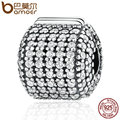 BAMOER Authentic 925 Sterling Silver Stopper Pave Barrel, Clear CZ Clip Charms fit Bracelet Women DIY Fashion Jewelry PSC012