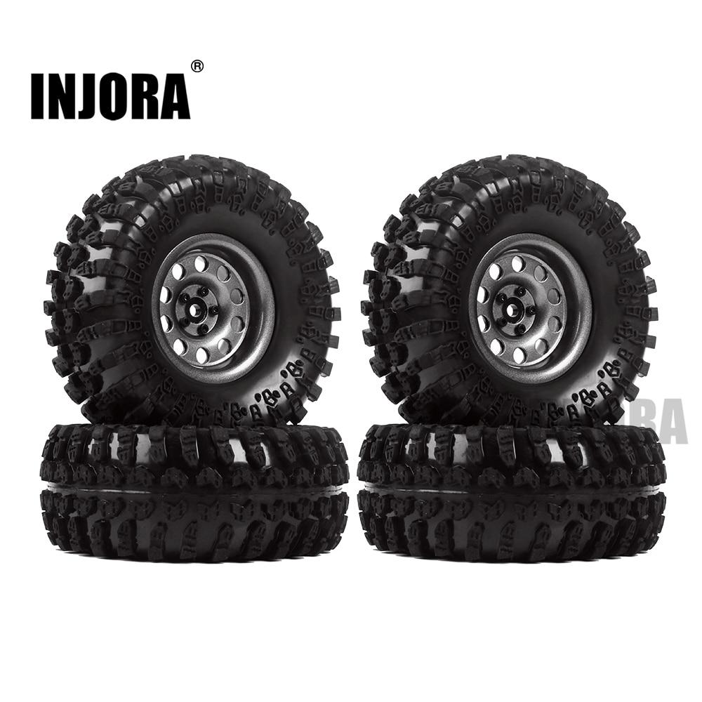 INJORA Metal 4Pcs 2 2 Inch Beadlock Wheel Rim Wheel Tires for 1 10 RC Crawler