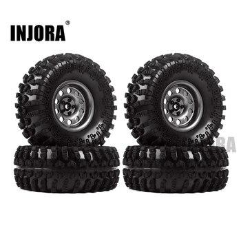 INJORA Metal 4Pcs 2.2 Inch Beadlock Wheel Rim& Wheel Tires for 1/10 RC Crawler Axial SCX10 RR10 90053 AX10 Wraith 90056 90045 1