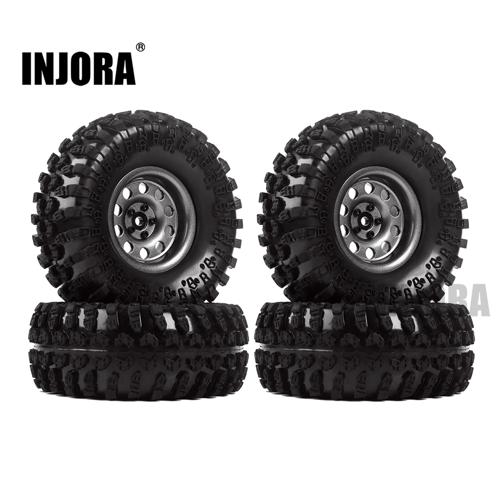 INJORA Metal 4Pcs 2.2 Inch Beadlock Wheel Rim& Wheel Tires for 1/10 RC Crawler Axial SCX10 RR10 90053 AX10 Wraith 90056 90045 2 2 plating beadlock wheel