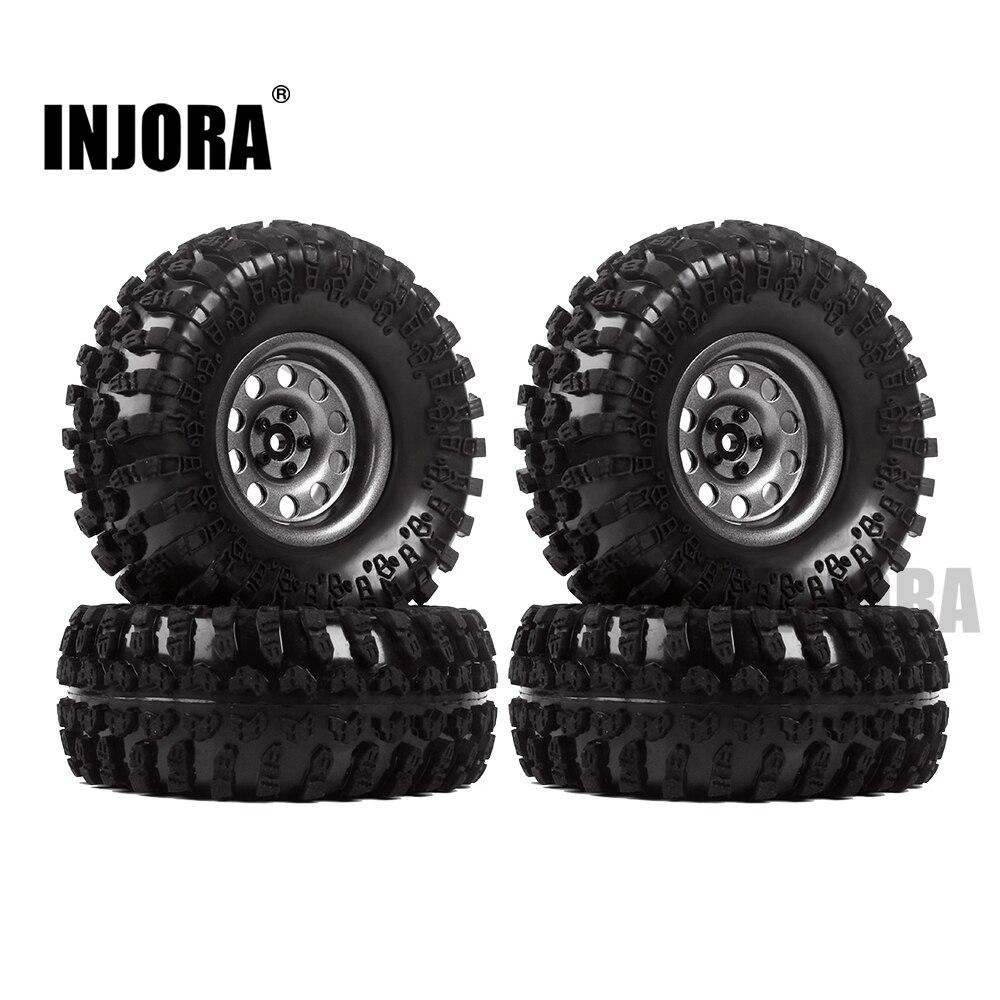 INJORA métal 4 pièces 2.2 pouces Beadlock jante et pneus de roue pour 1/10 RC chenille axiale SCX10 RR10 90053 AX10 Wraith 90056 90045