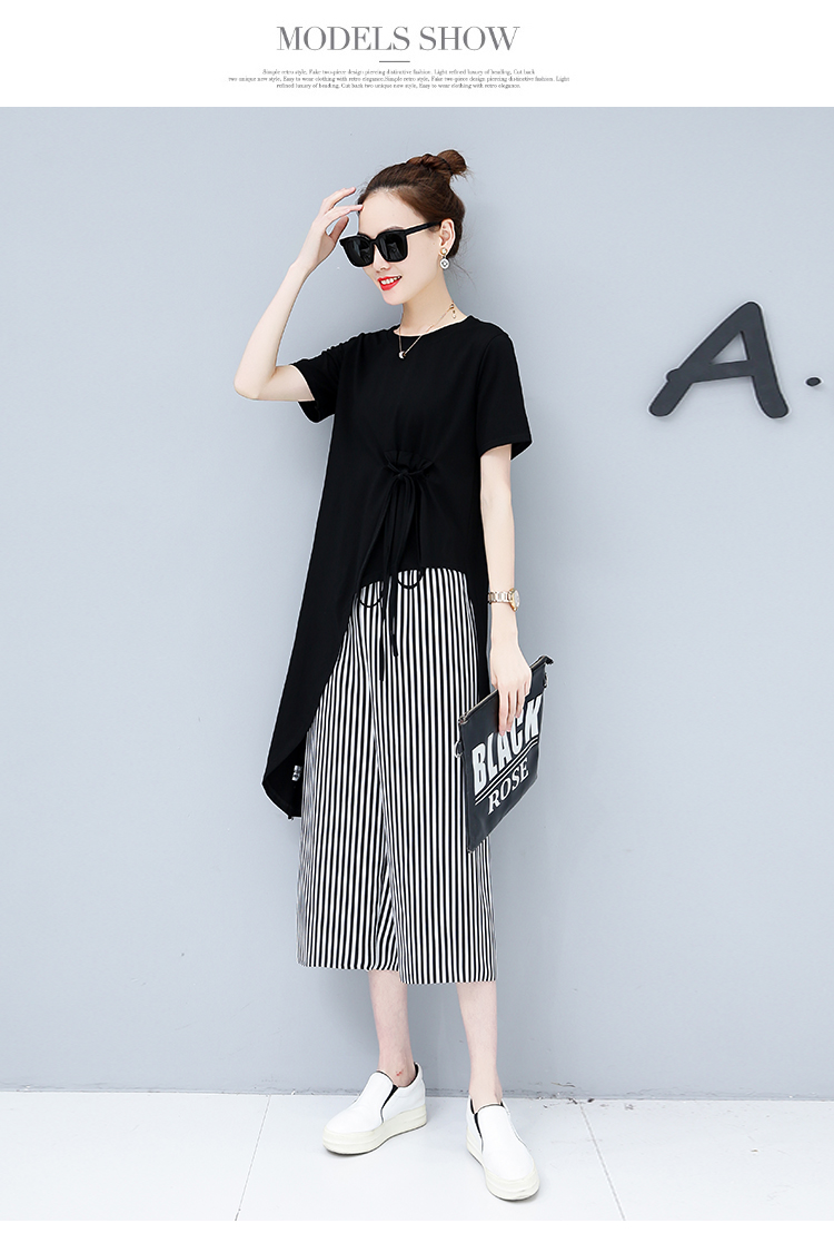 Summer Casual Two Piece Sets Women Black White Short Sleeve Tshirt And Striped Wide Leg Pants Sets Suits Plus Size Women's Sets 45