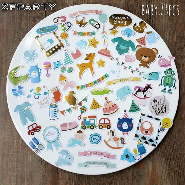 ZFPARTY Hello Baby troquelado pegatinas para Scrapbooking feliz planificador/hacer tarjetas/Diario proyecto 73 piezas