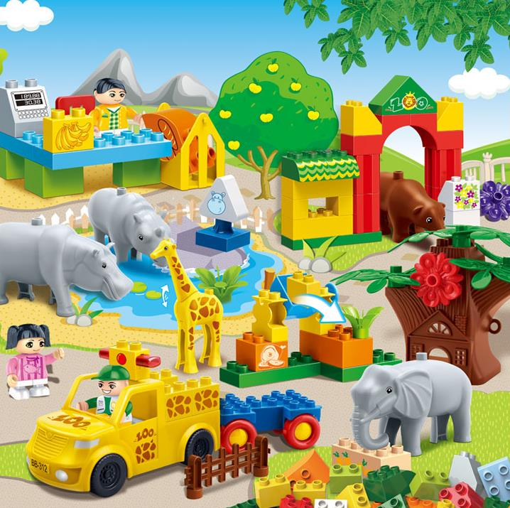 ABS Plastic Wild Animal Bricks Preschoolers Educational Mode Building Block Toy