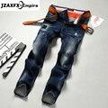 Hombres Jeans de Moda los Pantalones De Marca Hombre Jeans Rectos Casuales hombres de edad procesamiento pliegue Delgado denim Jeans Encuadre de cuerpo entero