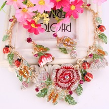 Tuliper Butterfly Rose Flower Necklace Earrings Set  Crystal Ladybug Animal Insect Jewelry Set Women Party  Gift bijoux femme