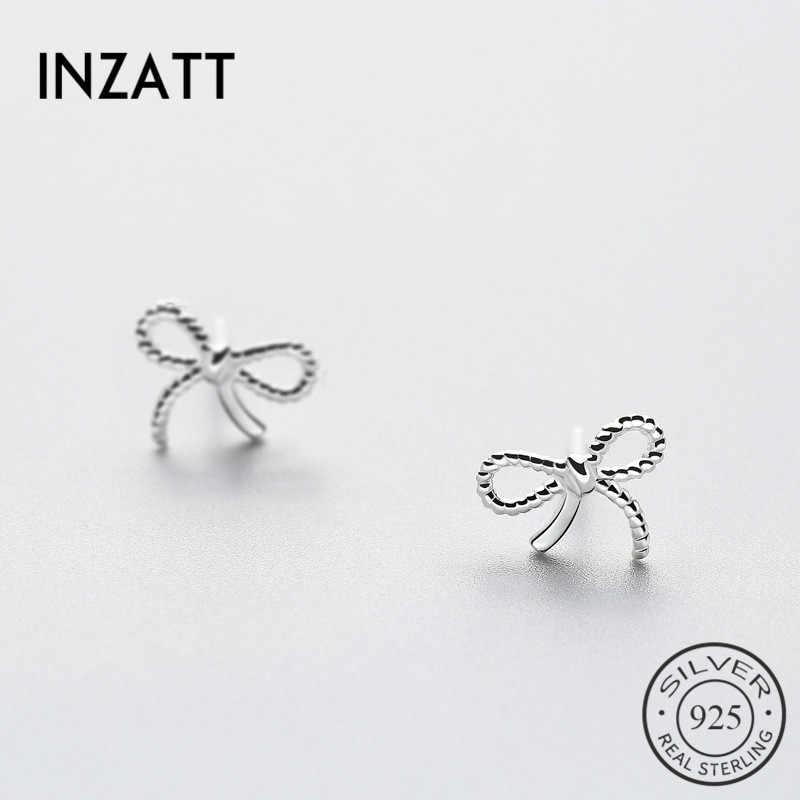 INZATT moda Real 925 Plata de Ley Bowknot Stud pendientes lindos Bijoux para mujeres fiesta regalo accesorios joyería