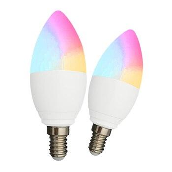 Smart E14 Светодиодный WiFi светильник-Свеча Теплый белый лампочка с регулируемой яркостью декоративный умный светильник Голосовое управление ...