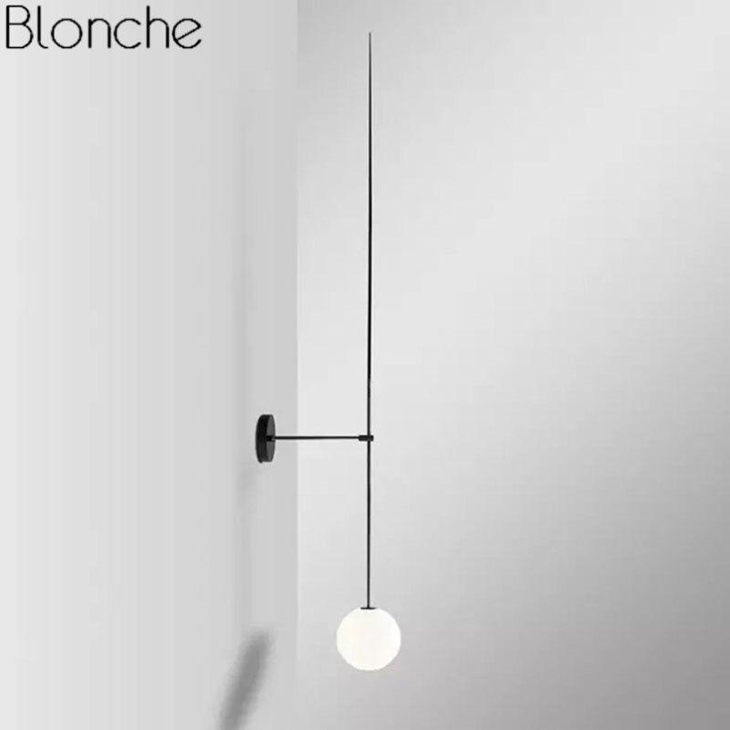 Poste moderne ligne applique murale minimalisme nordique boule de verre mur LED appliques luminaires salle de bains chevet miroir lumières Loft décor