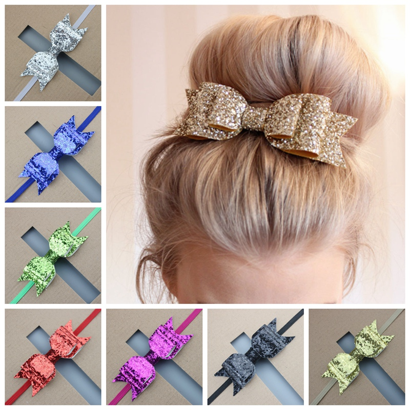 Pink Flower Boutique New PU Leather Texture Faux Sequins Bow Hair for Children Bands Nylon Elastic Bands Toddlers Hairbands Girls Headbands Rose Gold