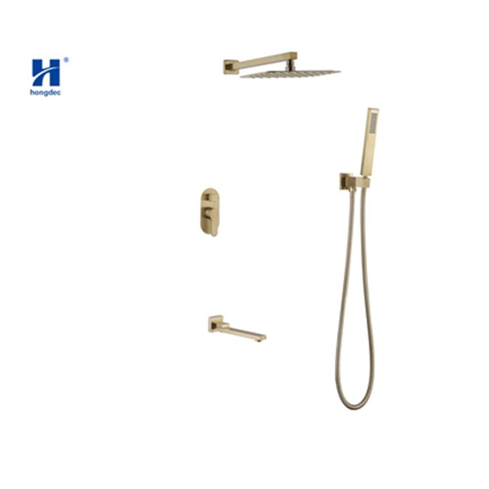 Hongdec Premium or brossé carré pluie tête de douche ensemble mural bras de douche mélangeur inverseur