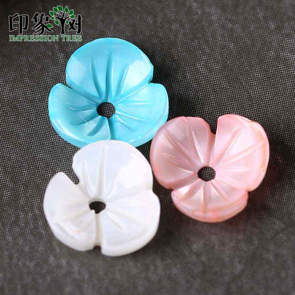 10pcs 8mm Cute Colorful 3D Flower Shell Beads Natural MOP Shell Caps Flower Vein Curved Shell Spacer DIY Jewelry Making 1909