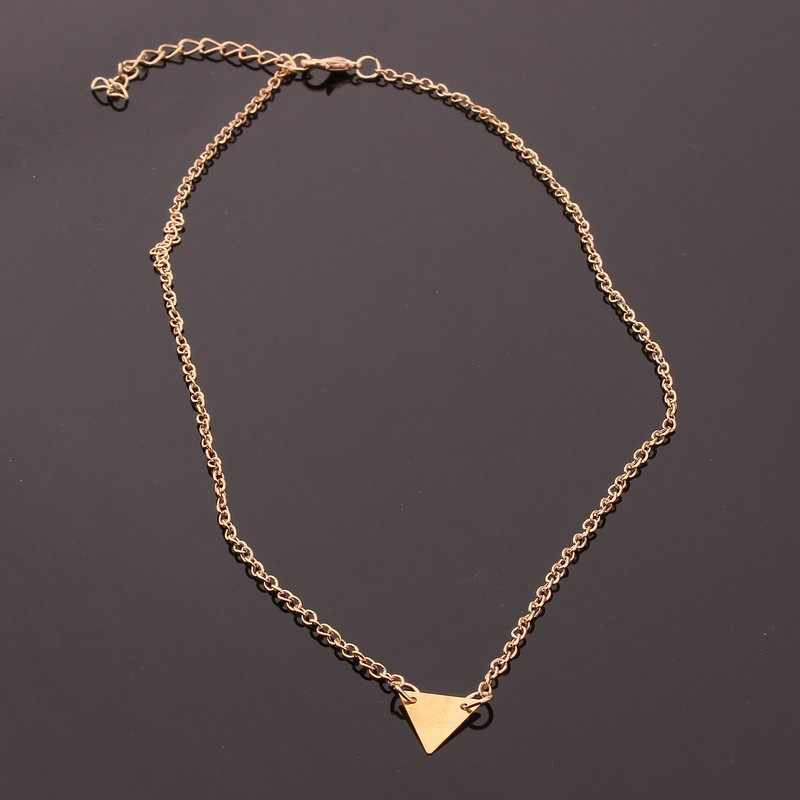 2019 New explosion models in Europe and America new fashion street shoot style single triangular necklace choker подвеска цепочк
