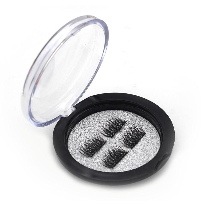2 Pairs /4PCS 3D Magnetic Eyelash False Eyelash Make up Double Magnet Full Strip Magneti ...