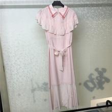 Summer Women Dress Casual Vestidos Ruffles Short Sleeve Pink Long Elegant Femme