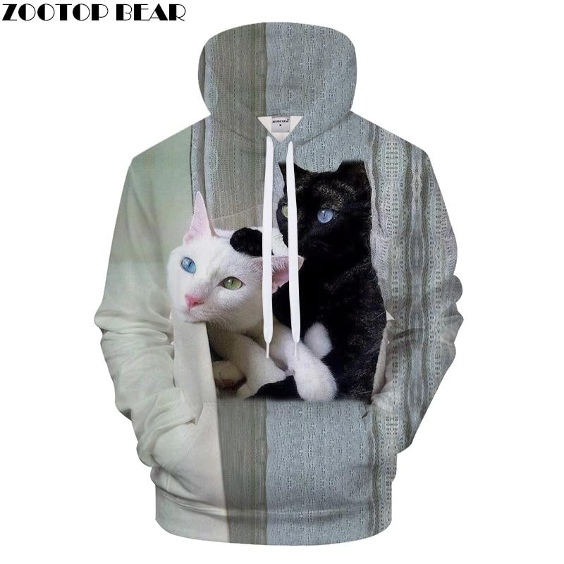 White & Black Cats Prints Hoodie 3D Animal Unisex Hoody Sweatshirt 2018 Autumn Winter Cloth Mens Hoodies Drop Ship ZOOTOP BEAR