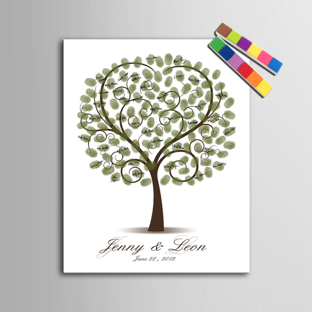 Wedding Gift Painting: Fingerprint Tree Signature Canvas Painting Tree Heart