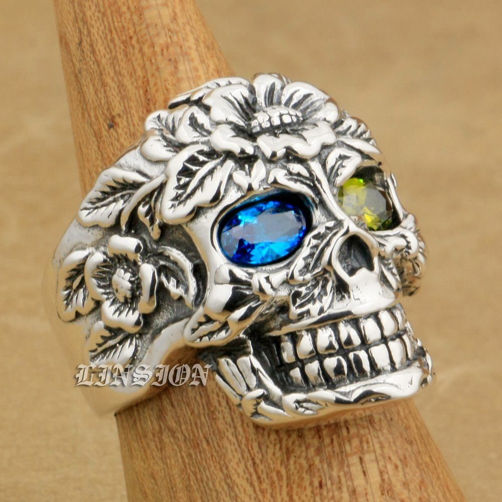 LINSION 925 Sterling Silver Flower Skull Blue + Green CZ Eyes Mens Boys Biker Rock Punk Ring 9W405 US Size 8~15 green cz eye 925 sterling silver skull ring mens biker punk style 8v306a us 8 15