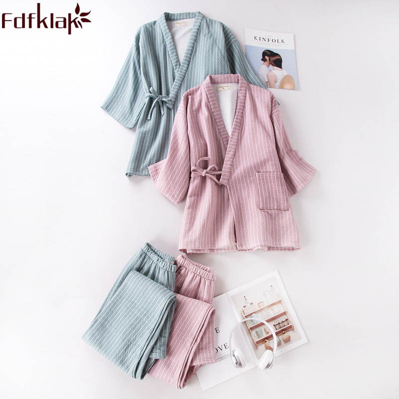 Fdfklak Autumn 2018 New Cotton Sleep Clothing Pyjamas Womens   Pajama     Sets   Pijama Mujer Night Suit Nightwear 2 Colors Home Clothes