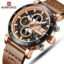 NAVIFORCE relojes para hombre, de cuarzo, resistente al agua, de cuero de moda, reloj de pulsera deportivo, Masculino