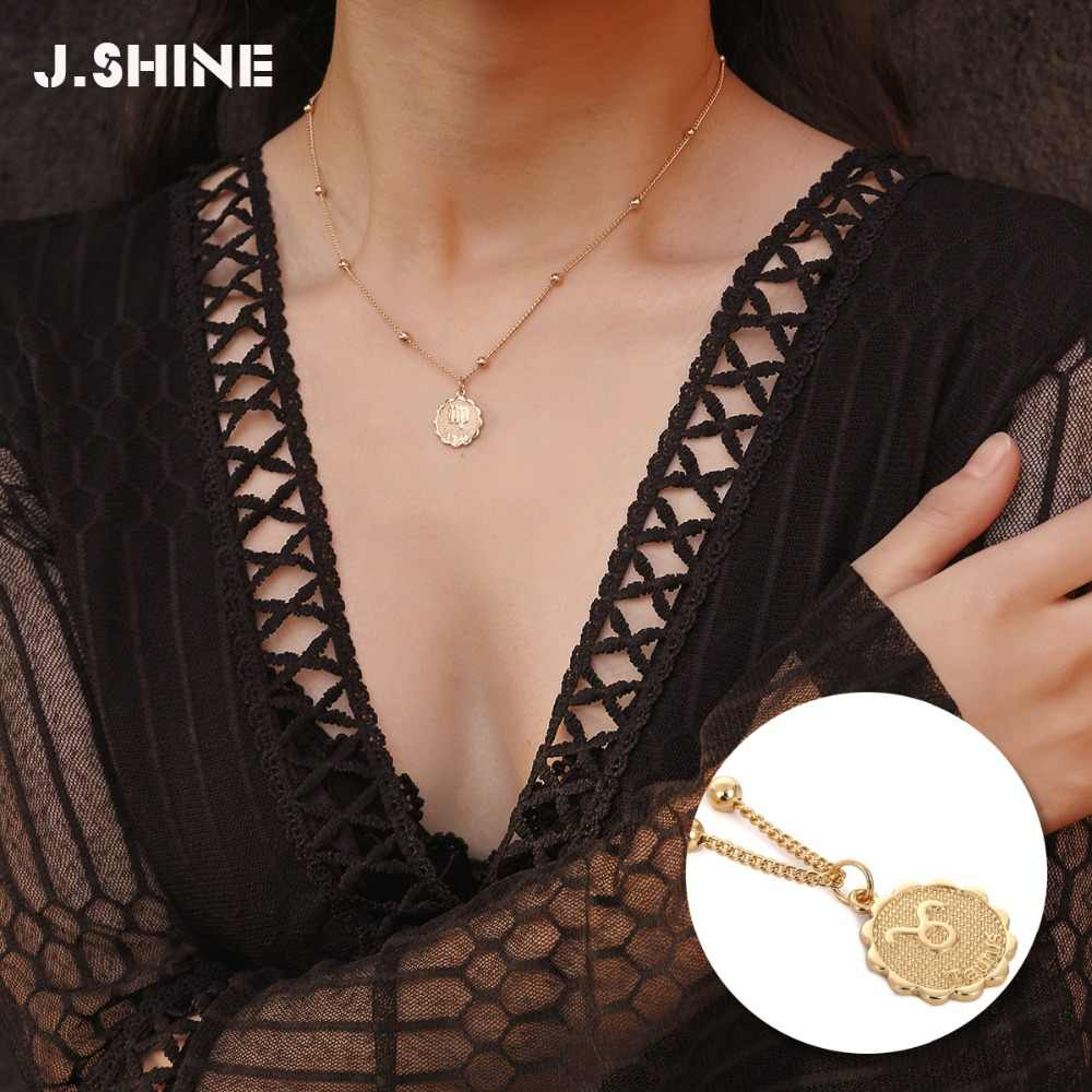 JShine 12 Zodiac Constellations Pendants Necklaces For Women Gold Silver Color Ball Chain Choker Necklace 2019 Gifts for Women