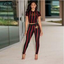 Streifen Casual Frauen Jumpsuit Druck Elastische Zwei Stück Anzug Overall Hohe Taille Fitness Overall Overalls Plus Größe