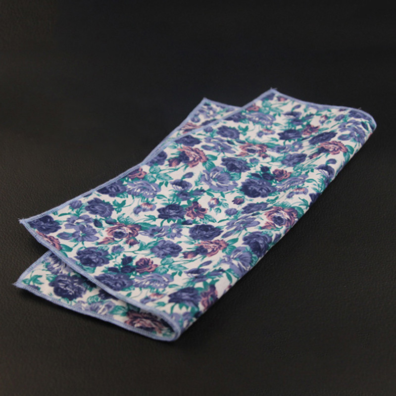 Mens Cotton Fish Printed Handkerchief For Wedding Tuxedo Floral Pocket Sqaure Hanky For Mens Suits Chest Towel