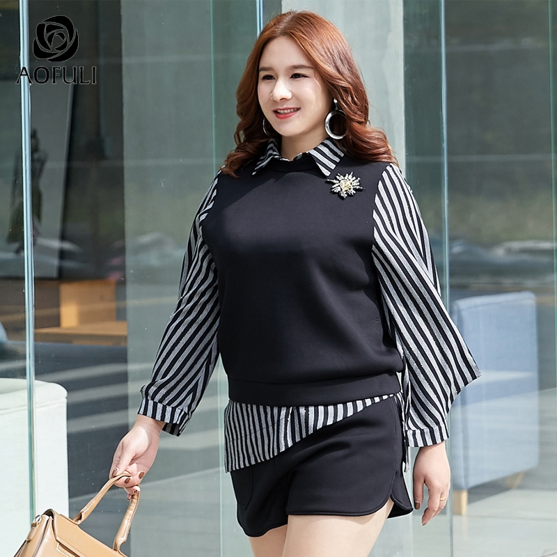 AOFULI L ~ 4XL 5XL asymetryczna zestaw szortów kobiety Plus rozmiar topy i szorty garnitur czarny latarnia rękaw w paski koszulki Twinset A3900 w Zestawy damskie od Odzież damska na  Grupa 2