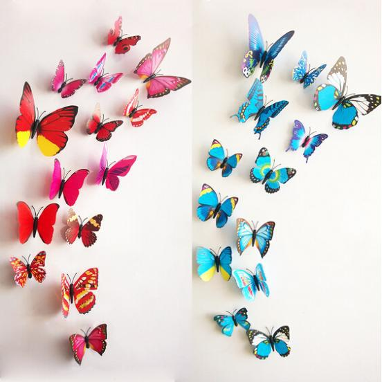 2015 Hot Sale 3D Butterfly Wall decor Stickers Home decor Sticker Green Red  5 Colors 12