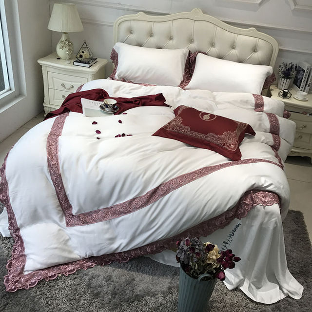 5 Pieces High Precision Embroidery Tencel Luxury Bedding Set King Size  Queen Size Bed Set