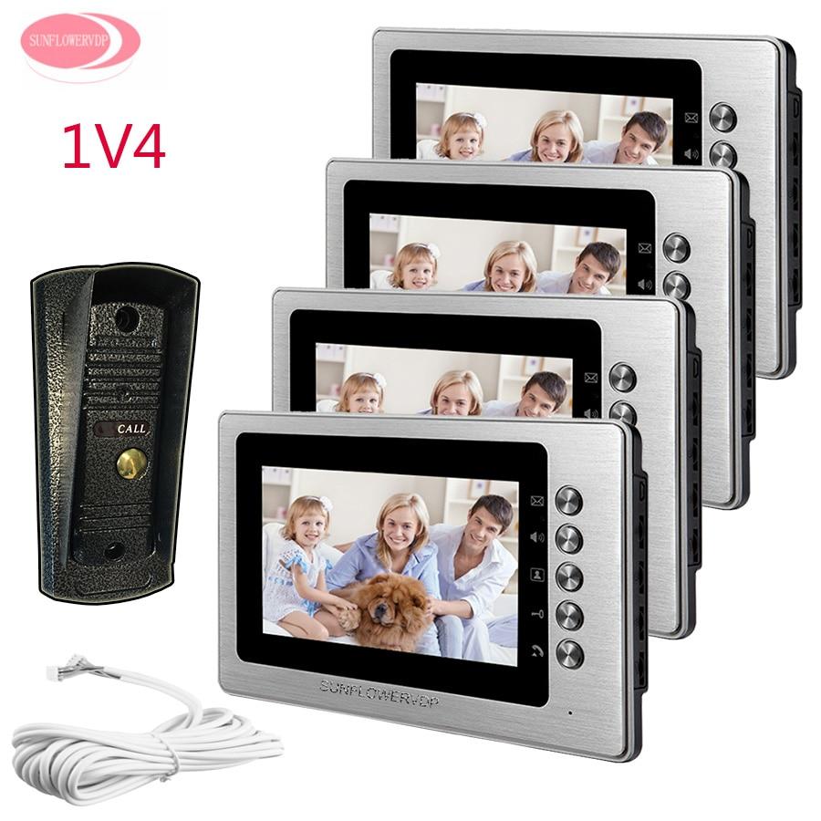 Video Door Phone 4 Monitors 7inch Color Video Door Intercom System With font b Night b