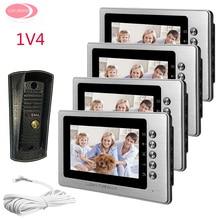 Wholesale Video Door Phone 4 Monitors 7inch Color Video Door Intercom System With Night Vision Metal Waterproof  Camera Video Phone House