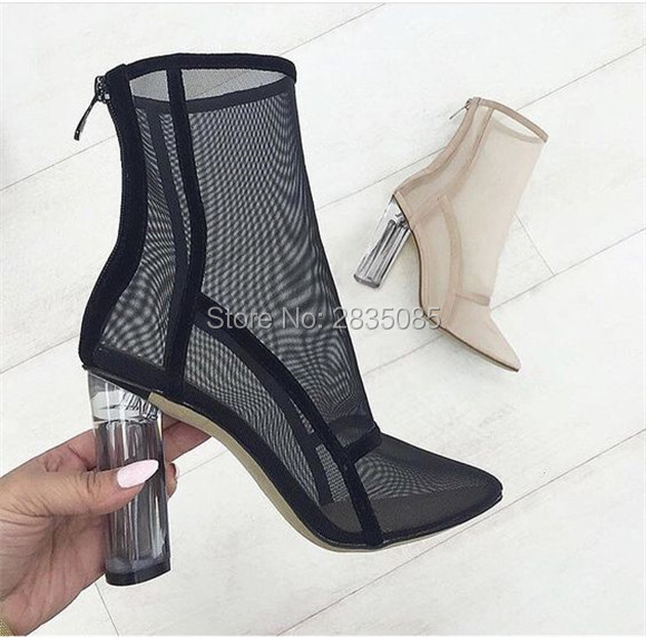 90599c52aa New Summer Black Pink Orange Mesh Perspex Block Heel Ankle Boots Clear  Acrylic Heel Shoes Woman Pointy Toe Thick Heeled Booties