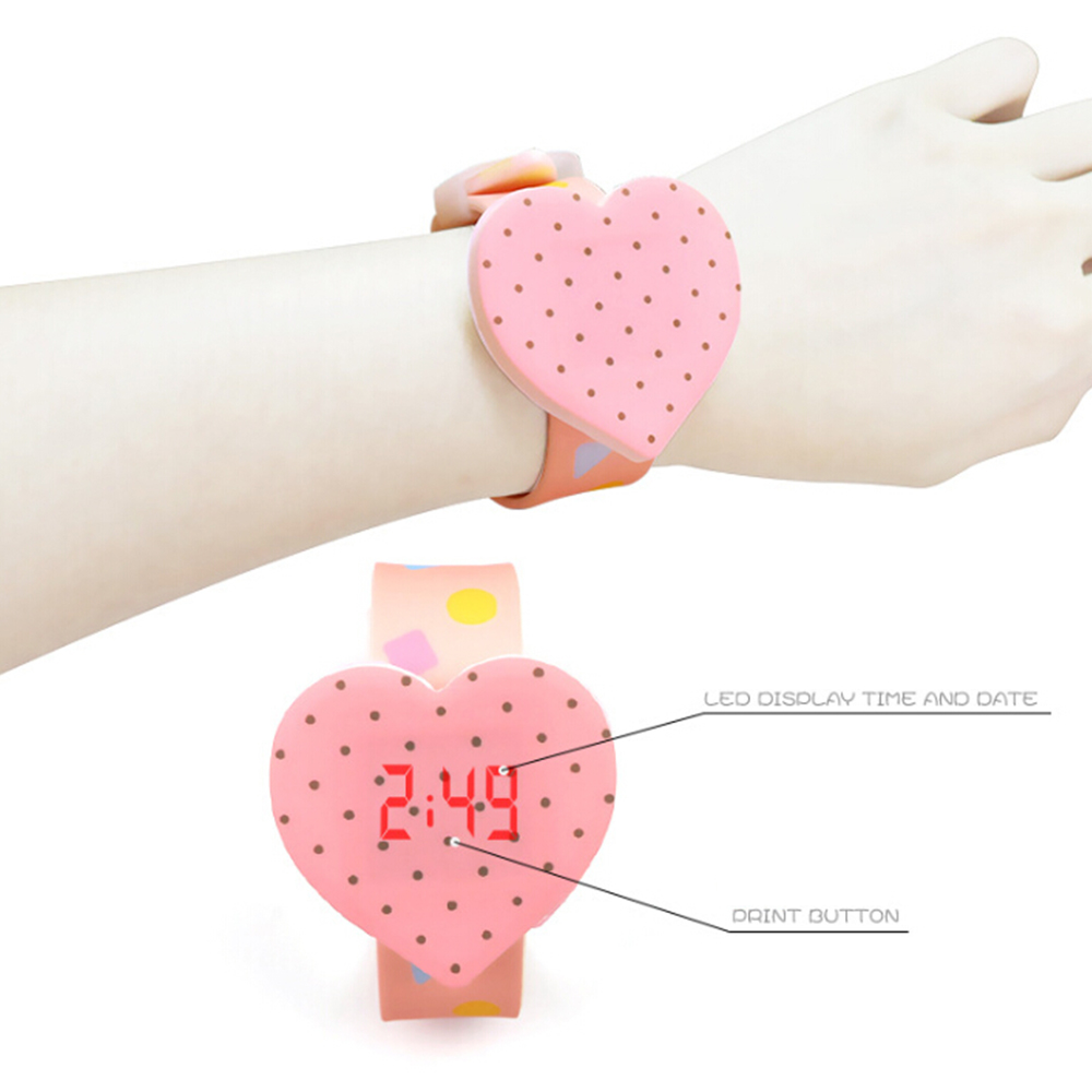 Fashion Children's Watches Casual Candy Color Heart Watch Cartoon Girl Silicone Touch Screen LED Digital Watches Clock Relogio