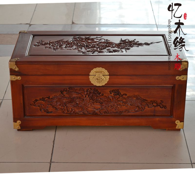 Camphor wood carved antique box meilanzhuju old wooden box suitcase suitcase Zhang marriage dowry box gift box camphor wood furniture carved wooden suitcase special offer and marriage dowry box storage box box manufacturers selling