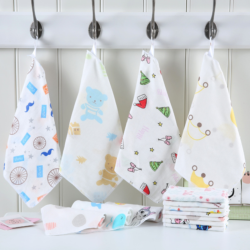 4pcs/lot baby handkerchief square cartoon pattern towel 4 layer 100% cotton baby towel 25x25cm infant face towel wipe cloth