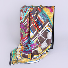 Fashion Printing Silk Scarf Large Size 90 * Female Square SILK Scarves Women White-collar 100% Real Shawl Wraps HA820