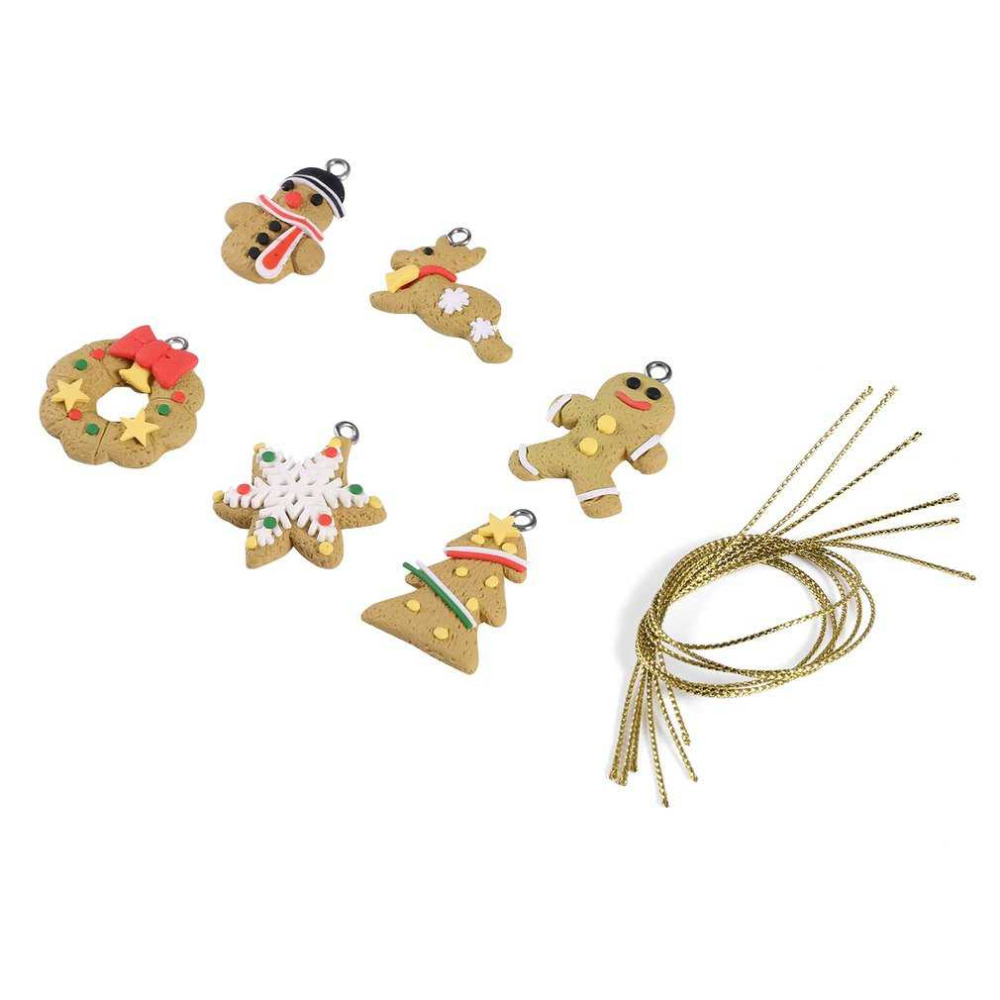 6Pcs/set Christmas Ornaments Lovely Santa Claus Animal Gingerbread Design Hanging Pendan ...