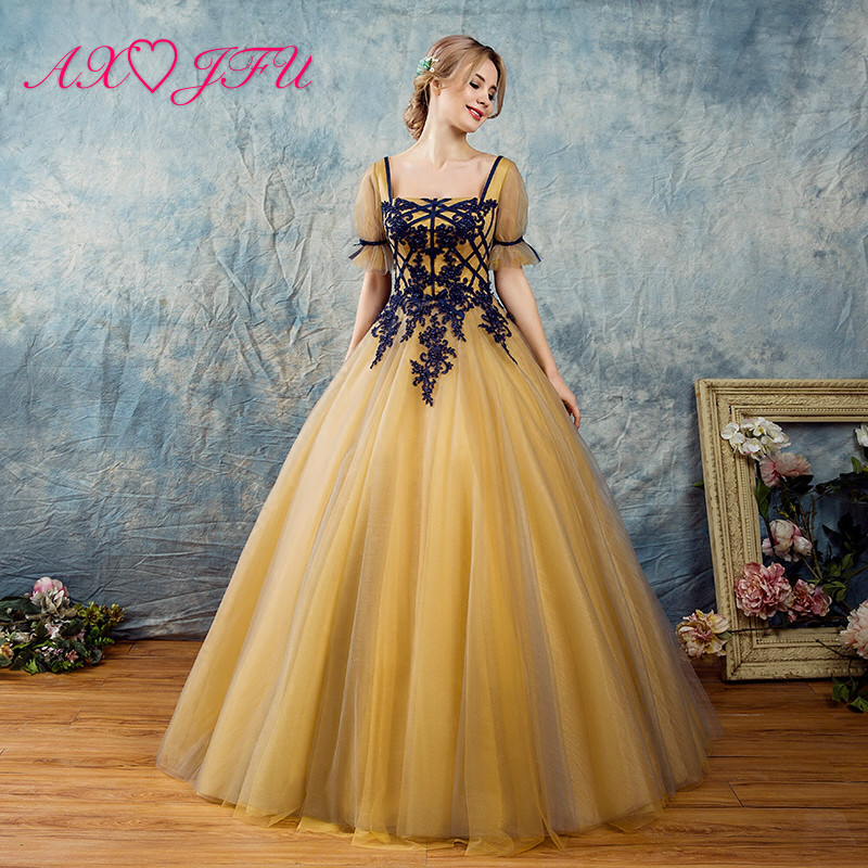 AXJFU Fashion golden Lace Embroidery blue flower   Evening     Dresses   Elegant Party party princess ruffles bow   evening     dress